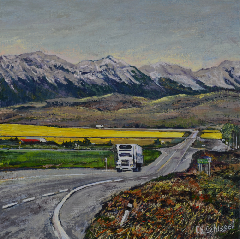 "Keep on Truckin'12"" x 12"" Acrylic___ Now on exhibit at ARTprior Gallery, Arnprior"